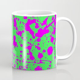 Fuchsia Spray Splatters on Neon Green Surface Coffee Mug