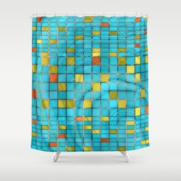 Block Aqua Blue and Yellow Art - Block Party 2 - Sharon Cummings Shower Curtain