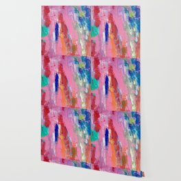 Lucky #13, a contemporary abstract in pinks and fuchsias Wallpaper