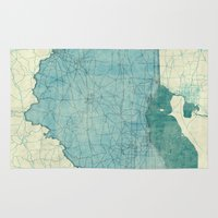 ohio state Area & Throw Rugs featuring Ohio State Map Blue Vintage by City Art Posters
