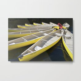 Tethered Yellow Canoes at Lost Lake in Whistler British Columbia Metal Print