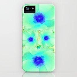 Celadon Jade Green-Blue Color Flower Pattern iPhone Case