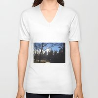 central park V-neck T-shirts featuring Central Park by PintoQuiff
