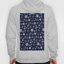 Hand Drawn Snowflake Blizzard With Navy Classic Blue Background Hoody