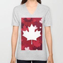 Maple Leaf Canadian Red Design Unisex V-Neck
