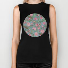 Soft Smudgy Pink and Green Floral Pattern Biker Tank