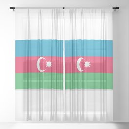 Flag of Azerbaijan. The slit in the paper with shadows. Sheer Curtain