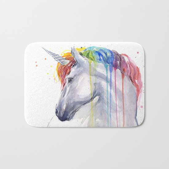Rainbow Unicorn Watercolor Animal Magical Whimsical Animals Bath Mat