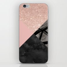 Modern pastel pink black strokes watercolor color block iPhone & iPod Skin