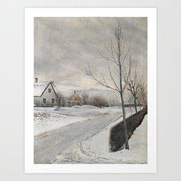 Laurits Andersen Ring - Road in the Village of Baldersbrønde (Winter Day) Art Print