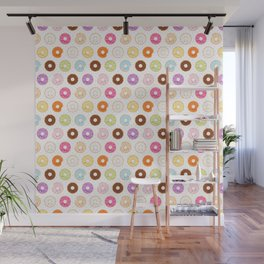 Happy Cute Donuts Pattern Wall Mural