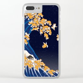 Shiba Inu The Great Wave in Night Clear iPhone Case