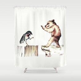 The Bird vs. The Bear Shower Curtain