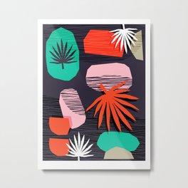 Dank - memphis style 80's throwback neon shape palm house plant retro vintage decor hipster art Metal Print