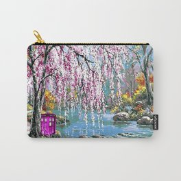 Tardis Art Cherry Blossom River Painting Carry-All Pouch