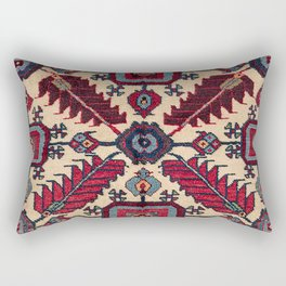 Red Feathers Lake Urmia 19th Century Authentic Colorful Blue Green Vintage Patterns Rectangular Pillow