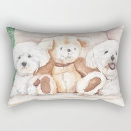 Two Bichons and A Friend Rectangular Pillow