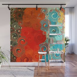 Turquoise and Red Swirls Wall Mural