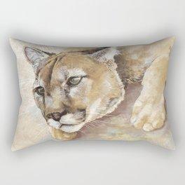 Captivated Mountain Lion Rectangular Pillow