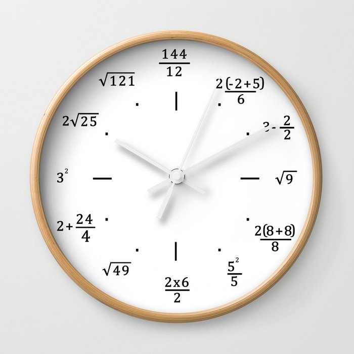 Math Clock Only Wall