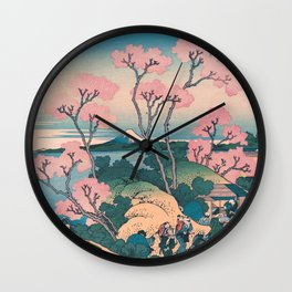 Spring Picnic under Cherry Tree Flowers, with Mount Fuji background Wall Clock