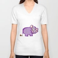poop V-neck T-shirts featuring Elephant poop by Jamie Clayton