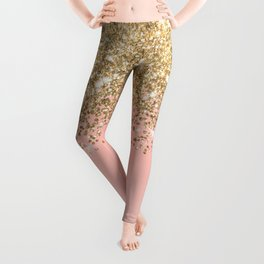 Girly Chic Gold Confetti Pink Gradient Ombre Leggings