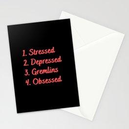 Stressed. Depressed. Gremlins. Obsessed. Stationery Cards