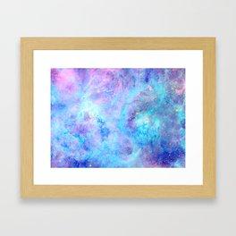 Bright Tarantula Nebula Aqua Lavender Periwinkle Framed Art Print