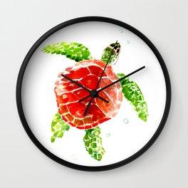 turtle, swimming turtle design red-green turtle art Wall Clock