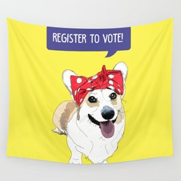 Political Pups - Register To Vote Corgi Wall Tapestry