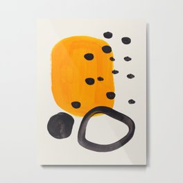 Unique Abstract Unique Mid century Modern Yellow Mustard Black Ring Dots Metal Print