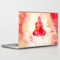 buddhism Laptop & iPad Skins featuring Red Buddha Watercolor art by Thubakabra