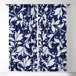 Brocade (White on Navy) Blackout Curtain