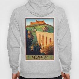 Vintage Spoleto Italy Travel Poster Hoody