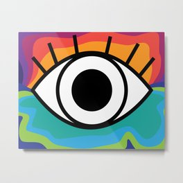 Bright Rainbow Eye Design Metal Print