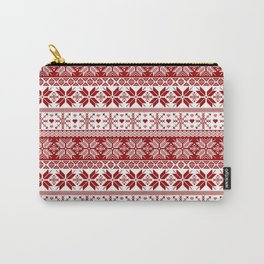 Red Winter Fair Isle Pattern Carry-All Pouch