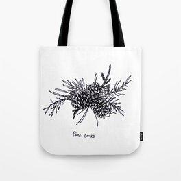 Pine Cones BW Tote Bag
