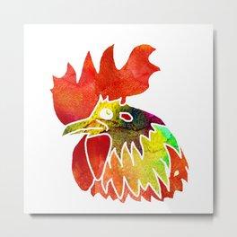 Watercolor rooster Metal Print