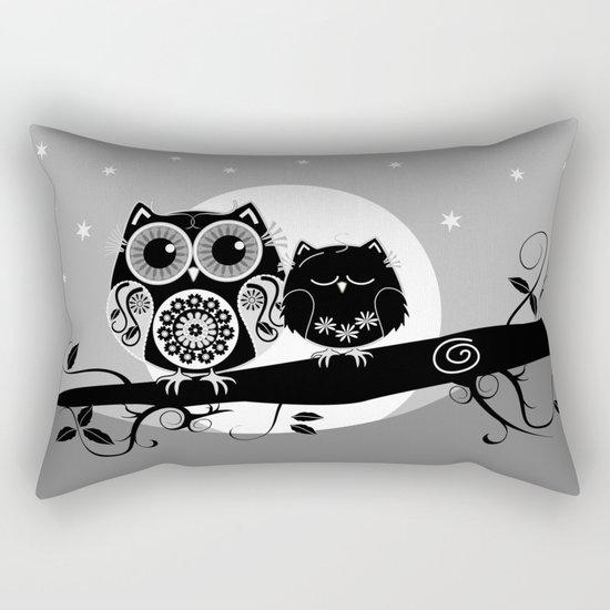 B&W Flower power Owl and her Sleepy Baby Rectangular Pillow