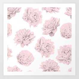 Simply Roses in Pink Flamingo Pink on White Art Print