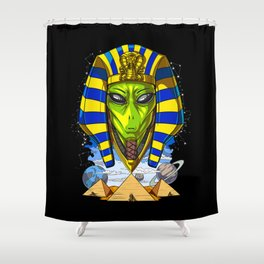 Alien Egyptian Pharaoh Tutankhamun Ancient Conspiracy Shower Curtain