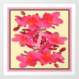 PINK FLOWER BLOSSOMS YELLOW SPRING ART Art Print