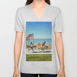 America flag bicycle Unisex V-Neck