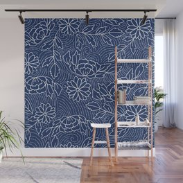 White and blue Japanese flowers pattern Wall Mural