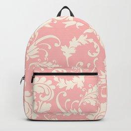 Vintage pink ivory chic floral damask pattern Backpack