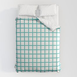 Grid (Teal & White Pattern) Comforters