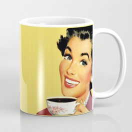 Drink coffee, do stupid things faster vintage meme with woman holding coffee cup and smiling Coffee Mug