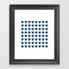 64 Hearts Navy Framed Art Print