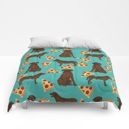 chocolate lab pizza cute funny dog breed pet pattern labrador retriever Comforters